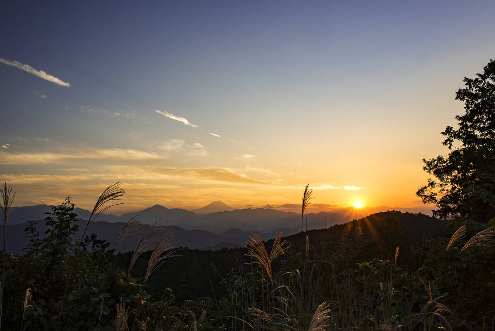 Sunrise from Mt. Takao Japan. A popular New Year's destination