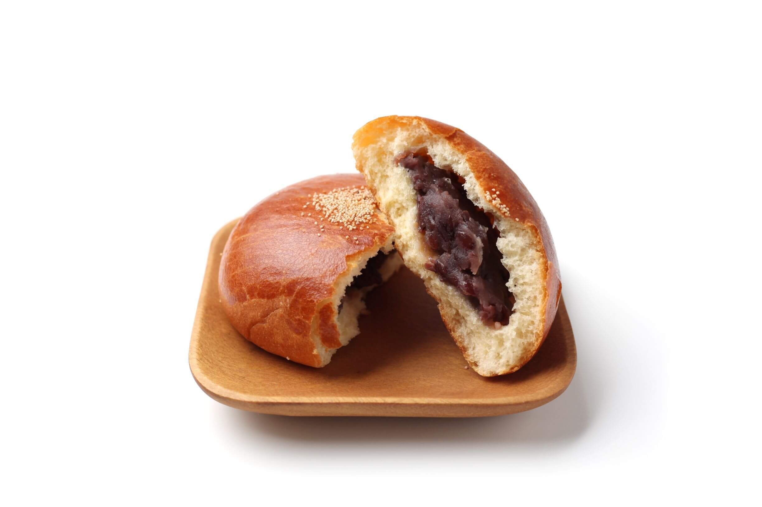 a bun filled with red bean paste